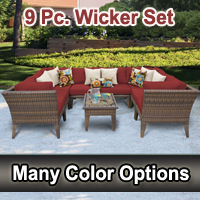 Modern 9 Piece Outdoor Wicker Patio Furniture Set