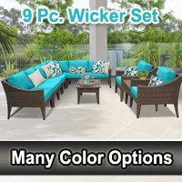 Modern 11 Piece Outdoor Wicker Patio Furniture Set