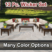 Modern 12 Piece Outdoor Wicker Patio Furniture Set