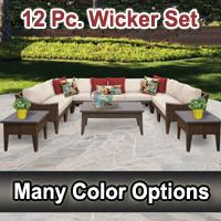 Modern 12 Piece Outdoor Wicker Patio Furniture Set