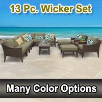 Modern 13 Piece Outdoor Wicker Patio Furniture Set