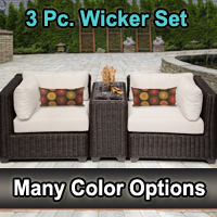 Rustic 3 Piece Outdoor Wicker Patio Furniture Set