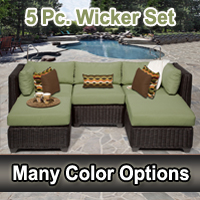 Rustic 5 Piece Outdoor Wicker Patio Furniture Set