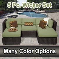Rustic 5 Piece Outdoor Wicker Patio Furniture Set
