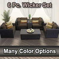 Rustic 6 Piece Outdoor Wicker Patio Furniture Set