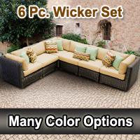 Rustic 6 Piece Outdoor Wicker Patio Furniture Set