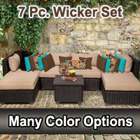 Rustic 7 Piece Outdoor Wicker Patio Furniture Set