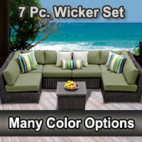 Rustic 7 Piece Outdoor Wicker Patio Furniture Set