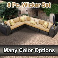Rustic 8 Piece Outdoor Wicker Patio Furniture Set