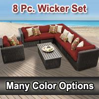 Rustic 8 Piece Outdoor Wicker Patio Furniture Set