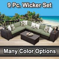 Rustic 9 Piece Outdoor Wicker Patio Furniture Set