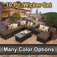Rustic 10 Piece Outdoor Wicker Patio Furniture Set