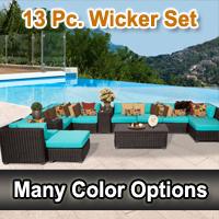 Rustic 13 Piece Outdoor Wicker Patio Furniture Set