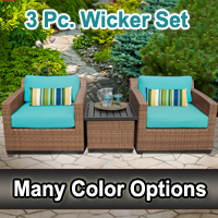 Toscano 3 Piece Outdoor Wicker Patio Furniture Set