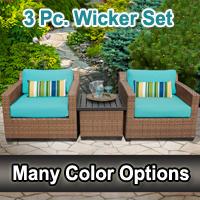 Toscano 3 Piece Outdoor Wicker Patio Furniture Set