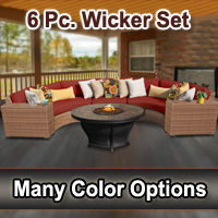 Toscano 6 Piece Outdoor Wicker Patio Furniture Set