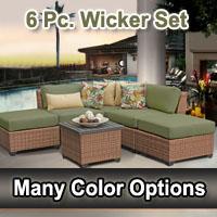 Toscano 6 Piece Outdoor Wicker Patio Furniture Set