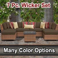 Toscano 7 Piece Outdoor Wicker Patio Furniture Set