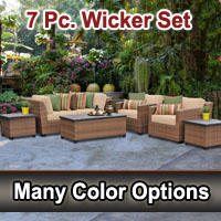 2015 Toscano 7 Piece Outdoor Wicker Patio Furniture Set
