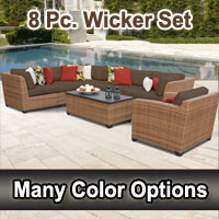 2015 Toscano 8 Piece Outdoor Wicker Patio Furniture Set