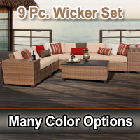 Toscano 9 Piece Outdoor Wicker Patio Furniture Set