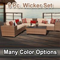 Toscano 9 Piece Outdoor Wicker Patio Furniture Set