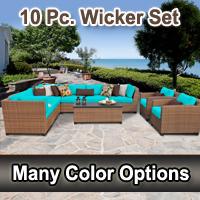 Toscano 10 Piece Outdoor Wicker Patio Furniture Set