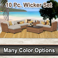 Toscano 10 Piece Outdoor Wicker Patio Furniture Set