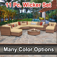 Toscano 11 Piece Outdoor Wicker Patio Furniture Set