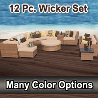 Toscano 12 Piece Outdoor Wicker Patio Furniture Set