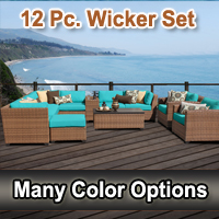 2015 Toscano 12 Piece Outdoor Wicker Patio Furniture Set