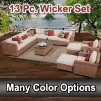 Toscano 13 Piece Outdoor Wicker Patio Furniture Set