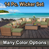 2015 Toscano 14 Piece Outdoor Wicker Patio Furniture Set