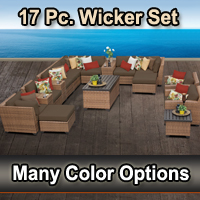 Toscano 17 Piece Outdoor Wicker Patio Furniture Set