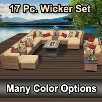 2015 Toscano 17 Piece Outdoor Wicker Patio Furniture Set