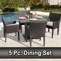 Square Wicker Patio Dining Table and 4 Chairs