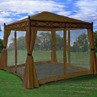 10'x10' Deluxe Steel Frame Gazebo w/Mosquito Curtain