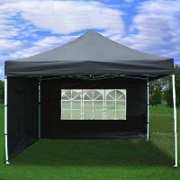 Black 10x10 EZ Pop Up 4 Wall Canopy Party Tent Gazebo