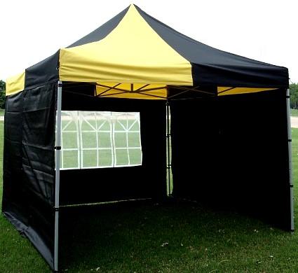 10x10 Yellow Black EZ Pop Up Canopy Party Tent Gazebo