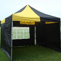 10x10 Yellow/Black EZ Pop Up Canopy Party Tent Gazebo