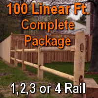 Brand New 100' Round Cedar Post & Rail Ranch Fence Complete Package