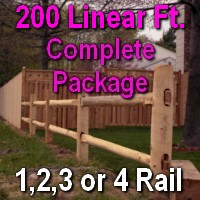 Brand New 200' Round Cedar Post & Rail Ranch Fence Complete Package