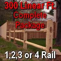 Brand New 300' Round Cedar Post & Rail Ranch Fence Complete Package