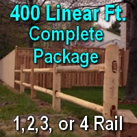 Brand New 400' Round Cedar Post & Rail Ranch Fence Complete Package