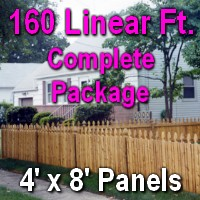 4' X 160' Semi-private Garfield Wood Cedar Picket Fence