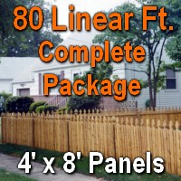 4' X 80' Semi-private Garfield Wood Cedar Picket Fence
