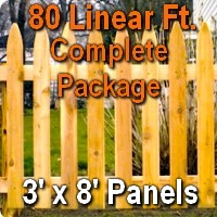 3' x 80' Traditional Adams Style Cedar Wood Picket Fence Complete Package
