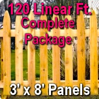 3' x 120' Traditional Adams Style Cedar Wood Picket Fence Complete Package