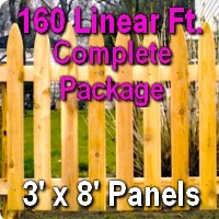 3' x 160' Traditional Adams Style Cedar Wood Picket Fence Complete Package