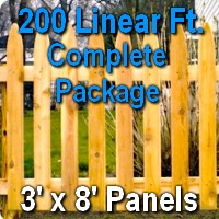 3' x 200' Traditional Adams Style Cedar Wood Picket Fence Complete Package